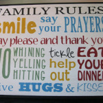 Hand Painted Family Rules Subway Art
