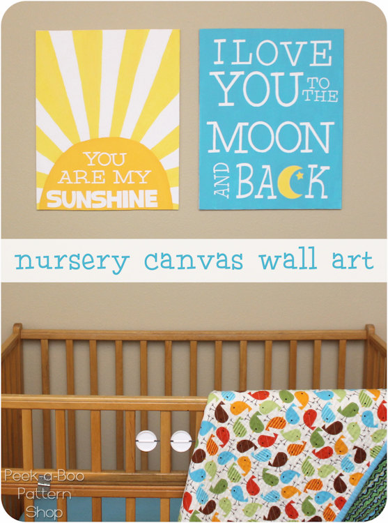 You Are My Sunshine Wall Decor nursery canvas wall art - peek-a-boo pages - sew something special