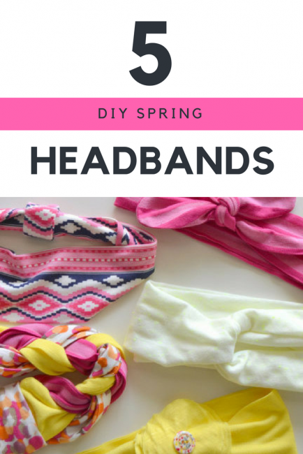 5 Spring Headbands including a braided headband, a basic knit headband, a flower headband, a turban headband, and a bow headband
