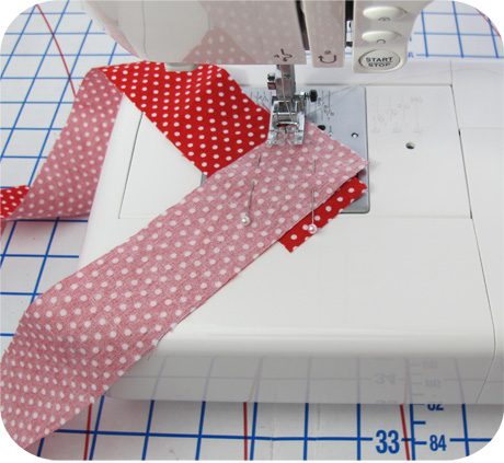 how to fold fabric to cut bias strips