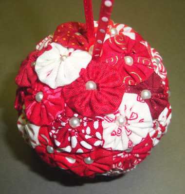 fabric yo yo christmas ornament