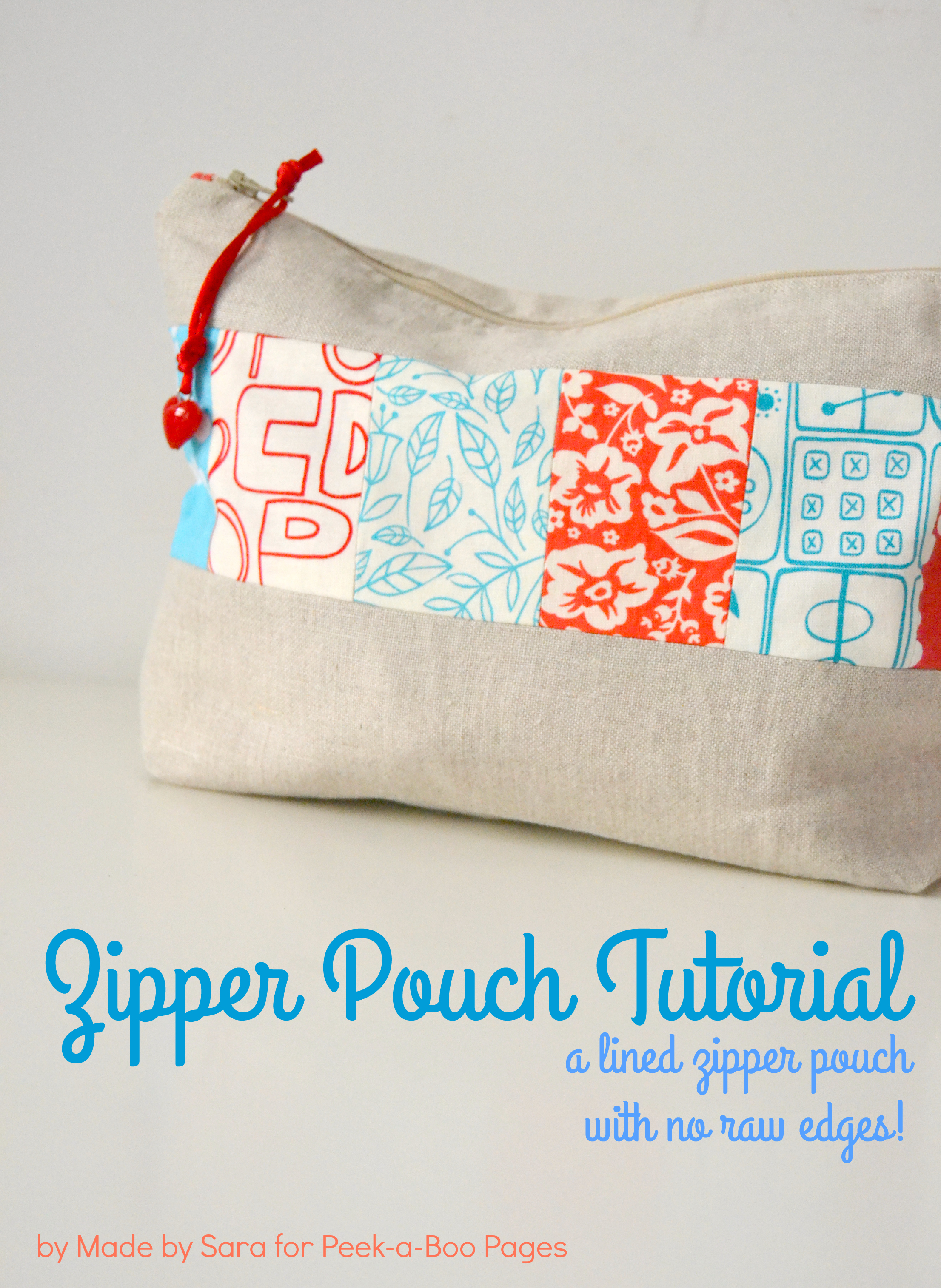 Fabric Book Cover With Zipper Tutorial : A simple lined zipper pouch tutorial peek boo pages