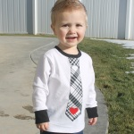 Boys Valentine's Day Tie Tee Shirt with Free Applique Template