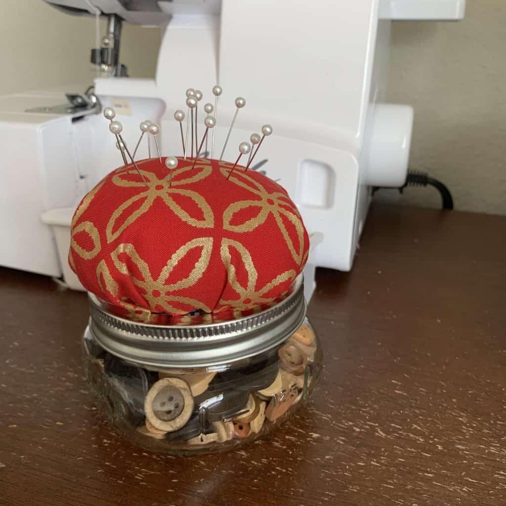 Peek-a-Boo Pages - How to Make a Mason Jar Pin Cushion
